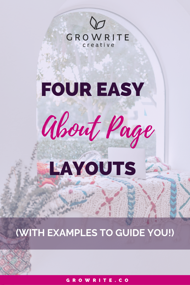 About page layouts GroWrite Creative