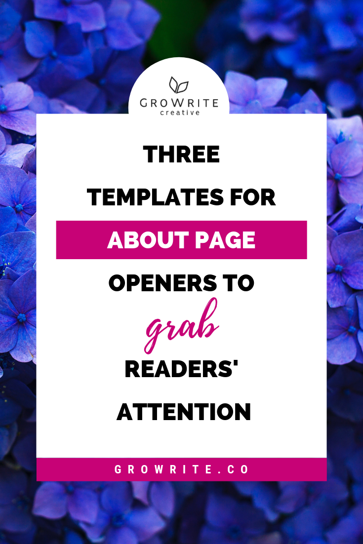 about page template openers GroWrite Creative