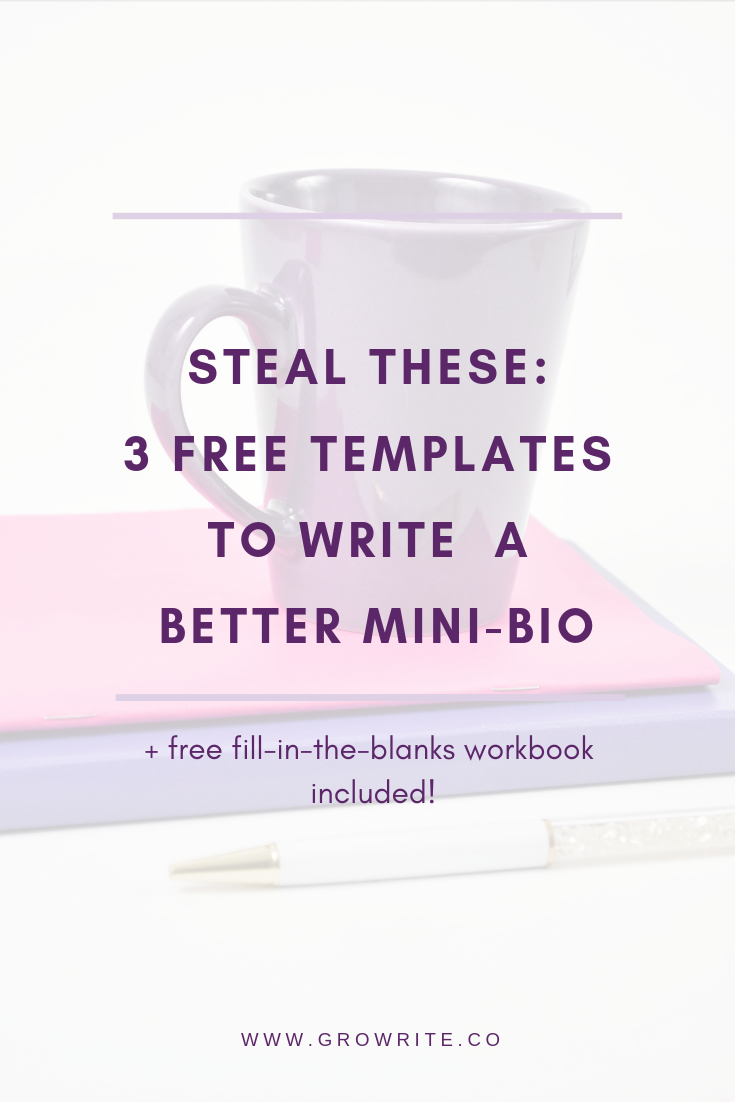 You need to know how to write a #mini-bio that attracts clients and builds authority for your #website, emails, #guestposts, interviews, #mediafeatures and #socialmediaprofiles. Use these 3 free templates to craft a compelling #shortbio that you can use in your #marketing efforts to promote your business! #minibio #copywriting #shortbiotemplates #minibiotemplates #socialmediabio