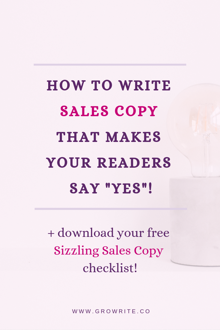 "How to write sales copy that makes your readers say ""YES""!"